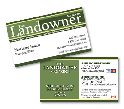 Business card deal t graphics sample business card designs bertrand plumbing heating the landowner magazine reheart Image collections